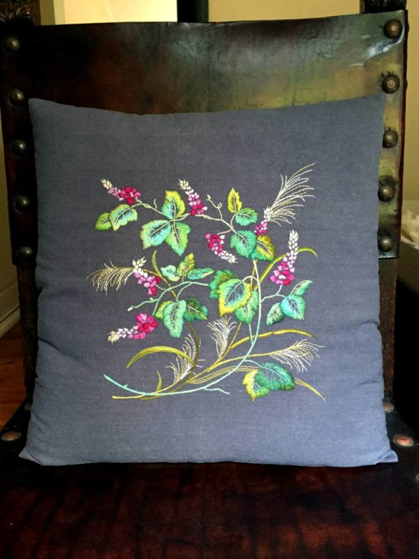Vine and Grass Cushion Cover Embroidery Kit